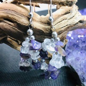 Amethyst and Clear Quartz Earrings